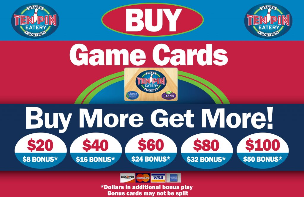 Ten Pin Eatery Players Card | Cape Cod Mall Entertainment Center