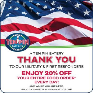 Military and First Responders Discount @ Ten Pin Eatery | Barnstable | Massachusetts | United States