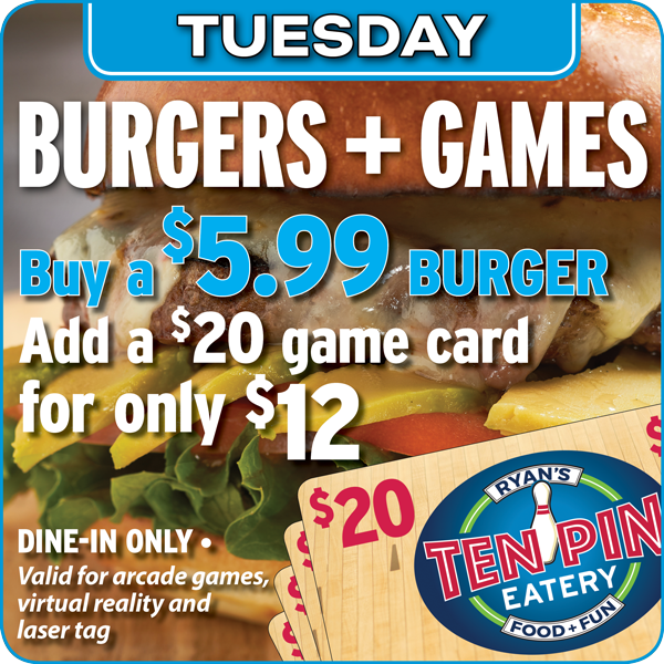 Ten Pin Eatery Burgers Games Special