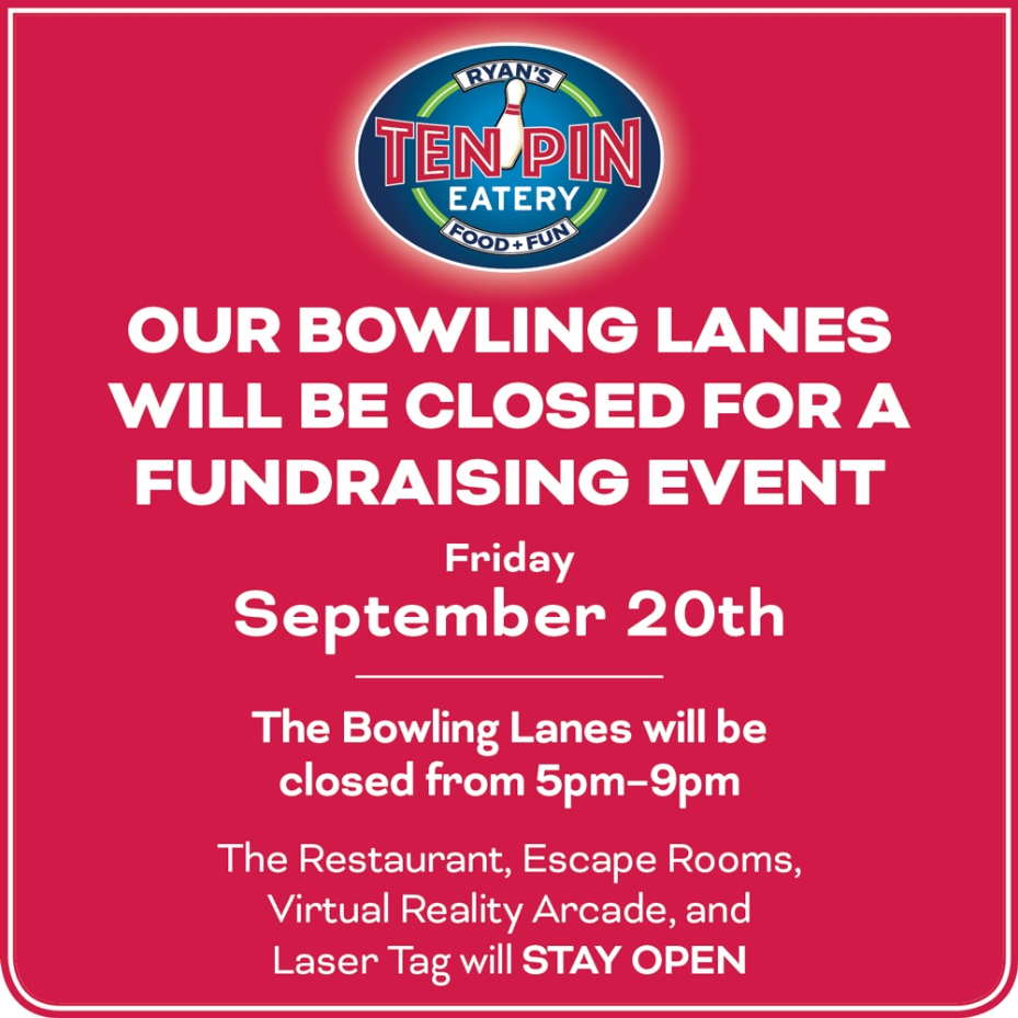 Bowling Lanes will be closed from 5pm-9pm