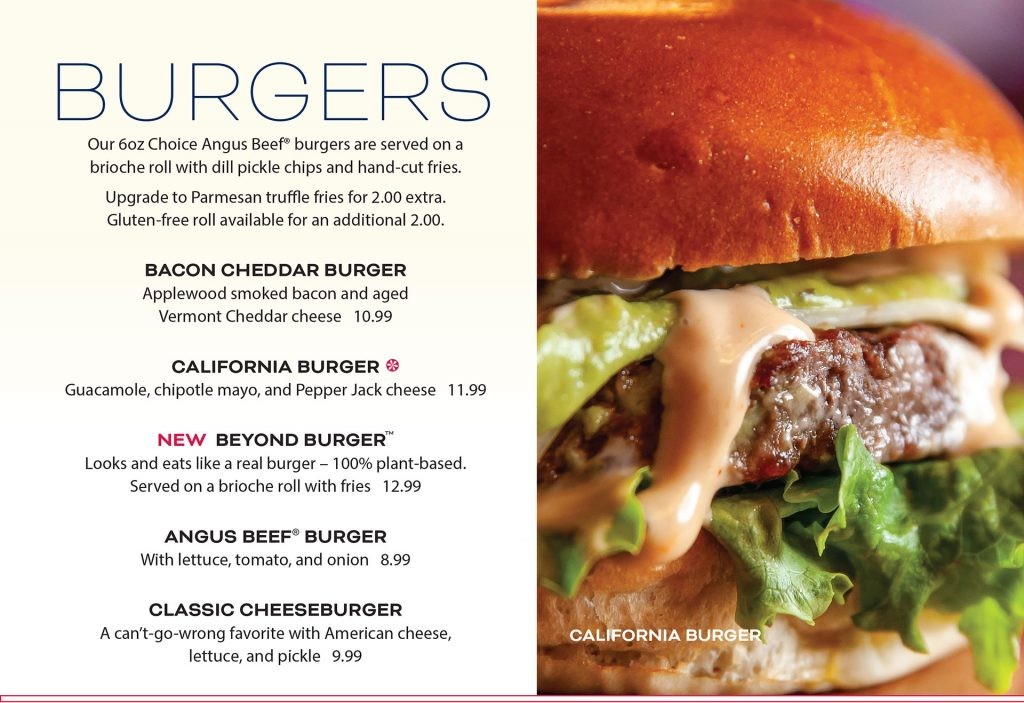 Ten Pin Eatery Burger Menu