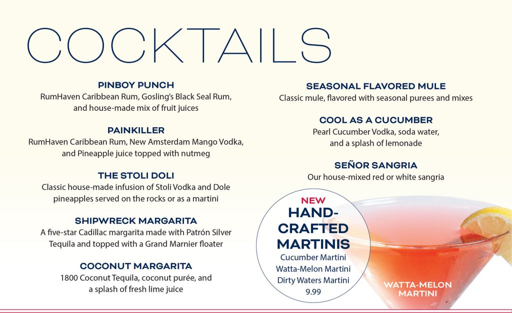 Ten Pin Eatery Cocktail Menu