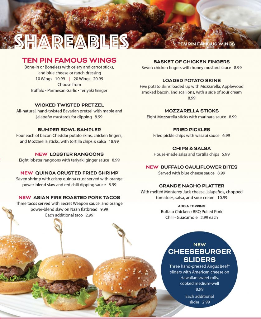 Ten Pin Eatery Shareable Menu