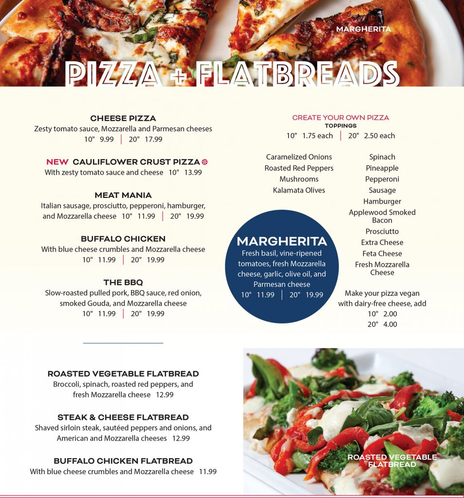 Ten Pin Eatery Pizza Flatbread Menu